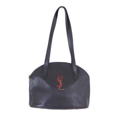 Vintage Yves Saint Laurent YSL Simple Embroidery Leather  Shoulder Bag