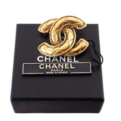 Vintage Chanel NWT Quilted Metallic Pin Lapel  Brooch