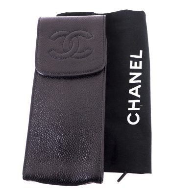Vintage Chanel Excellent Condition Glasses Case Caviar Pouch