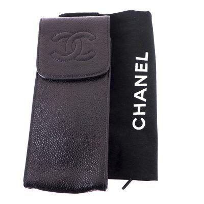 Vintage Chanel Excellent Condition Glasses Case Caviar Pouch