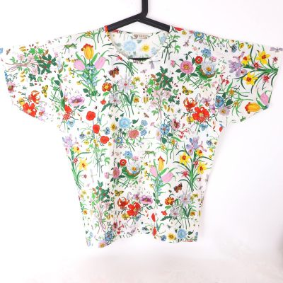 Vintage Gucci Floral Insects Bugs Multi Color T-Shirt Excellent