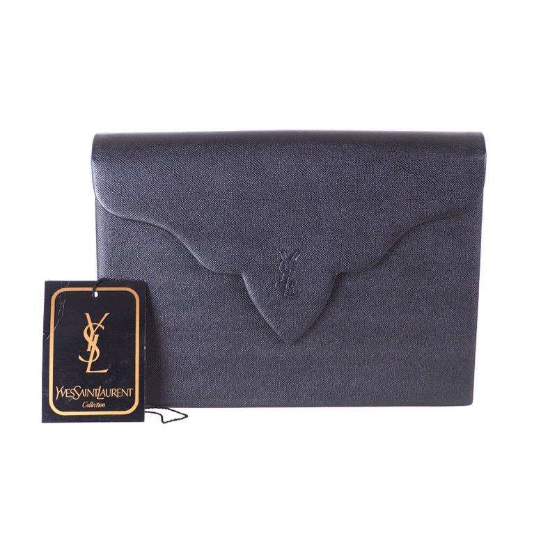 681d52be062ec Vintage Yves Saint Laurent Decorative Flap Black YSL NWT Clutch Bag