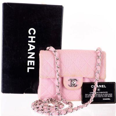 Vintage Chanel Pink Jersey Mini Matlasse Chain  Shoulder Bag