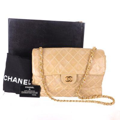 Vintage Chanel Large Beige Gold Quilted Full Set Shoulder Bag