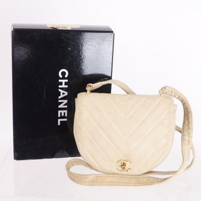 Vintage Chanel Chevron Quilted Leather Beige Shoulder Bag