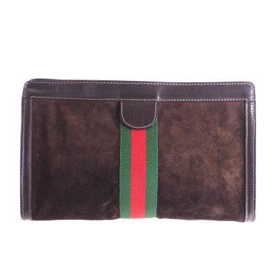 Vintage Gucci XL Jumbo Suede Brown Excellent  Clutch Bag