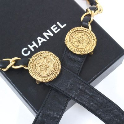 Vintage Chanel Chain Leather Rare 80/32 Excellent Belt
