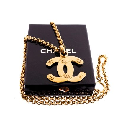 Vintage Chanel CC Logo Gold Extra Long Chain Excellent Necklace