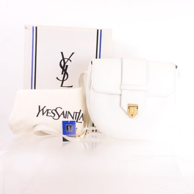 Vintage Yves Saint Laurent Large White Round Leather YSL Shoulder Bag