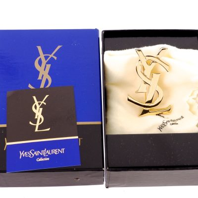 Vintage Yves Saint Laurent NIB Gold YSL Large Pin Brooch