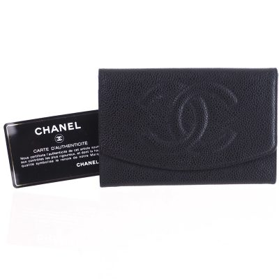 Vintage Chanel Caviar Skin Excellent Mini Clutch  Wallet