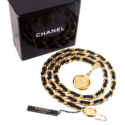 Vintage Chanel NWT Gold Extra Long Black Leather Choker Belt