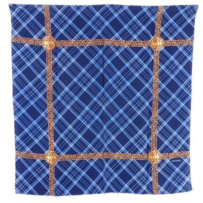 Vintage Chanel Bijoux Check Silk Rare Blue Large Scarf
