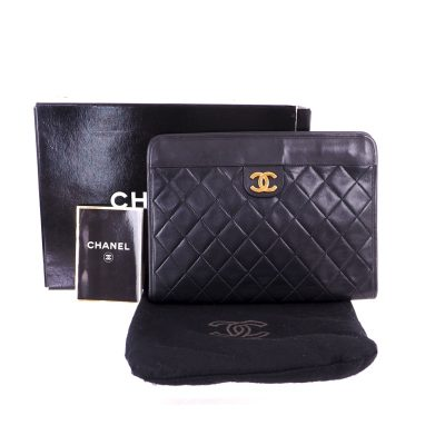 Vintage Chanel Quilted Black Never Used  Clutch Bag