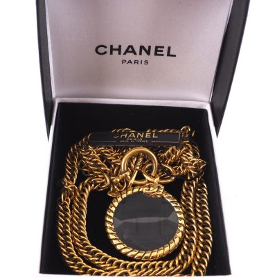 Vintage Chanel Excellent Condition Glass Magnifying Loupe  Necklace