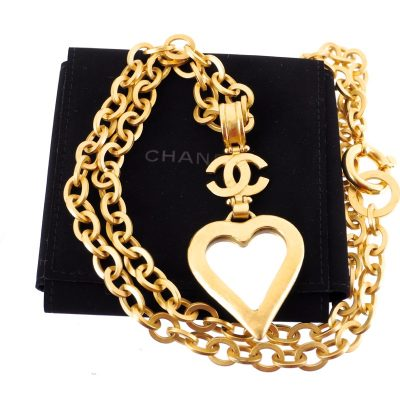 Vintage Chanel Heart Shape Mirror Charm Chunky Chain Necklace