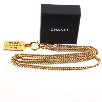 Vintage Chanel Extra Long  Chain Nametag 31 Rue Cambon Paris Necklace
