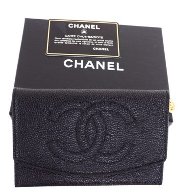 Vintage Chanel Never Used Caviar Card Case Full Set Wallet