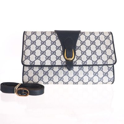 Vintage Gucci Monogram Blue Clutch Accessory Collection Shoulder Bag