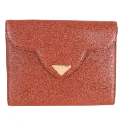 Vintage Yves Saint Laurent Decorative Flap Triangle YSL  Clutch Bag