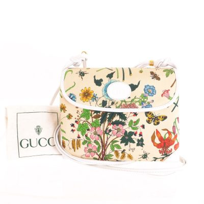 Vintage Gucci Floral Bug Insects Print Signature Box Shoulder Bag