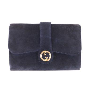 Vintage Gucci Rare Suede Blue Medallion  Clutch Bag