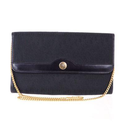 Vintage Christian Dior Monogram Black Large Canvas Trotter Clutch Shoulder Bag