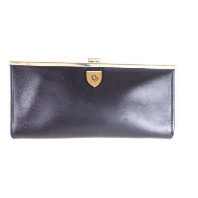Vintage Christian Dior Black Leather Long Rare  Clutch Bag