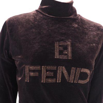 Vintage Fendi Never Worn Velour Brown High Neck Shirt