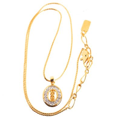Vintage Yves Saint Laurent Never Used Rhinestone YSL Necklace