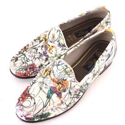 Vintage Gucci 35 1/2 Monogram Floral Print Leather Horsebit Flower Shoes