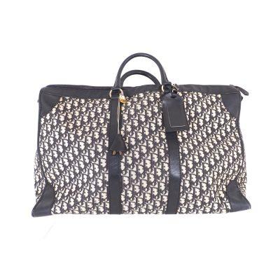 Vintage Christian Dior XL Jumbo Black Monogram Trotter  Hand Bag
