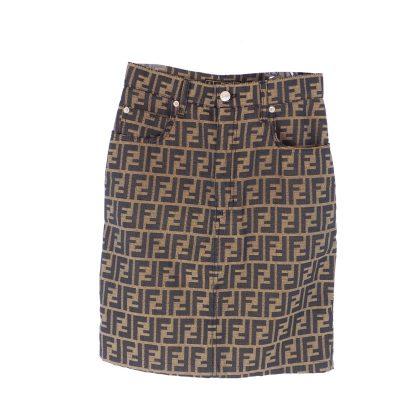 Vintage Fendi Zucca Monogram Jean Skirt Excellent Condition