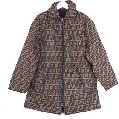 Vintage Fendi Monogram Zucca Reversible Jean Large Coat XL Clothing