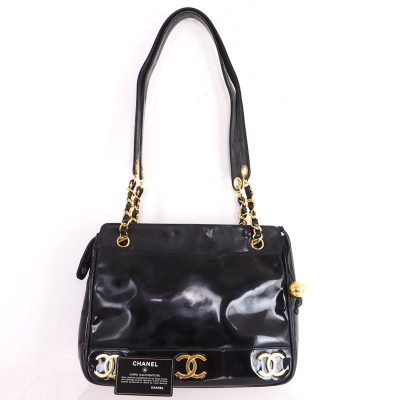 Vintage Chanel Six Gold CC Logo Patent Leather Chain Shoulder Bag