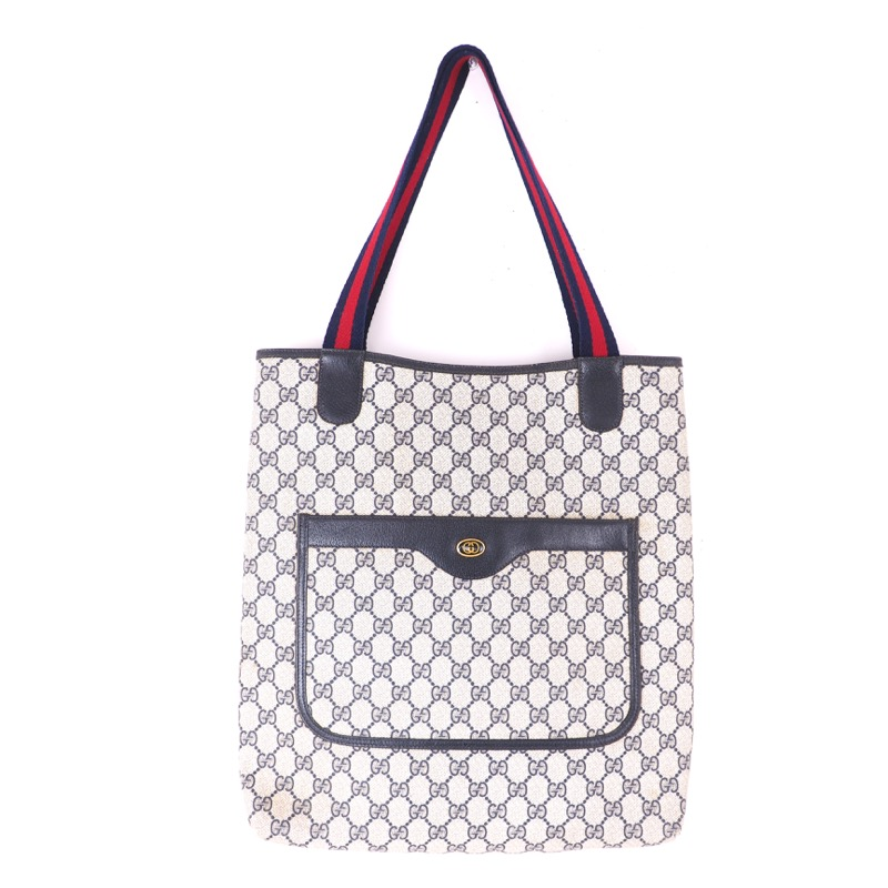 f3e1599f99a Vintage Gucci Blue Red Monogram Large Tote Hand Bag - Nina ...