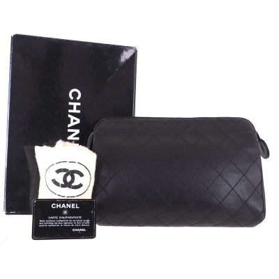 Vintage Chanel Full Set Excellent Quilted Leather  Clutch Bag