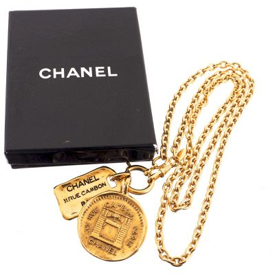 Vintage Chanel Never Used Double Tag Charm Long Necklace