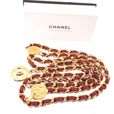 Vintage Chanel Excellent Condition Red Triple Chain Belt