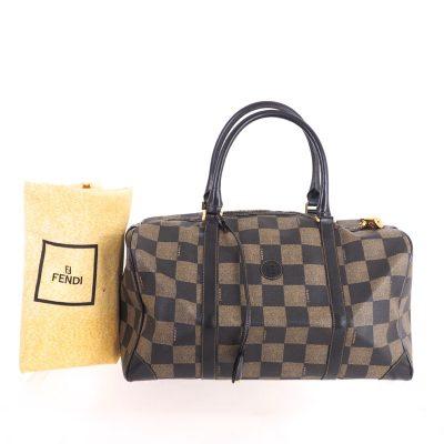 Vintage Fendi Check Pattern Beautiful Speedy Bag Hand Bag