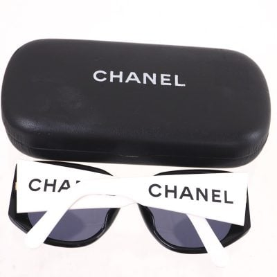 Vintage Chanel Extra Wide Temple Bi Color White Black Sunglasses
