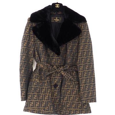 Vintage Fendi ZUCCA Monogram Eco Fur Collar Belted Jacket
