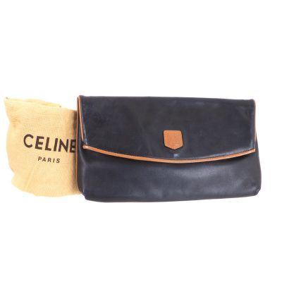 Vintage Celine Bi Color Black Leather Flap Clutch Bag