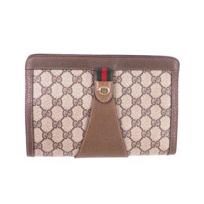 Vintage Gucci Never Used Monogram Beige Clutch Bag