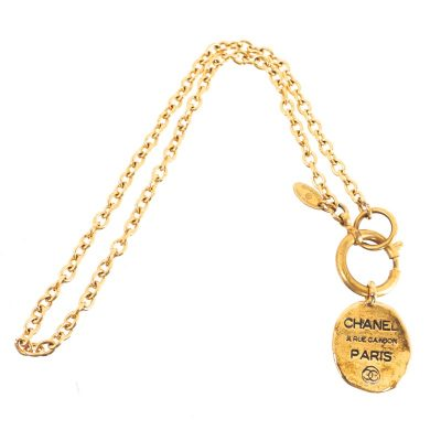 Vintage Chanel Round Nametag Chain Gold  Necklace