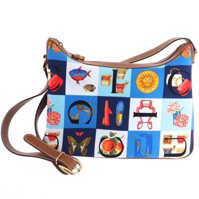 Vintage Gucci Scarf Printed Multi Colored Excellent Shoulder Bag