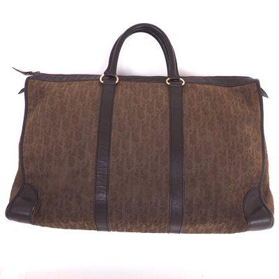 Vintage Christian Dior Brown Suede Trotter Dior Emboss Speedy Large Hand Bag