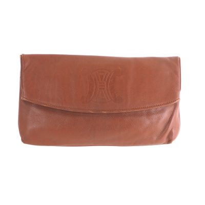 Vintage Celine Large Logo Brown Leather  Clutch Bag