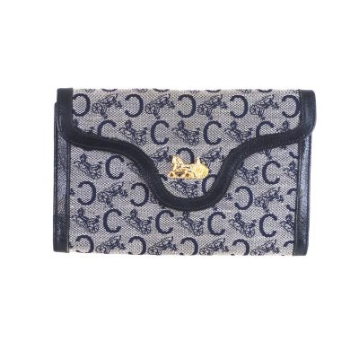 Vintage Celine Tri Fold Horse Carriage Wallet  Clutch Bag