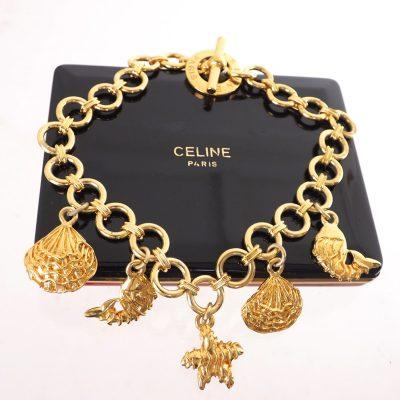 Vintage Celine Hardcase Seashell Marine Chunky  Necklace